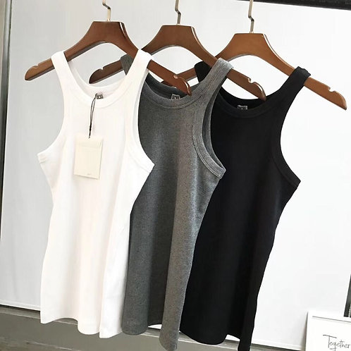 Spring Rib Tank White Black Sleeveless Organic Cotton  Fitted Top 3- colors