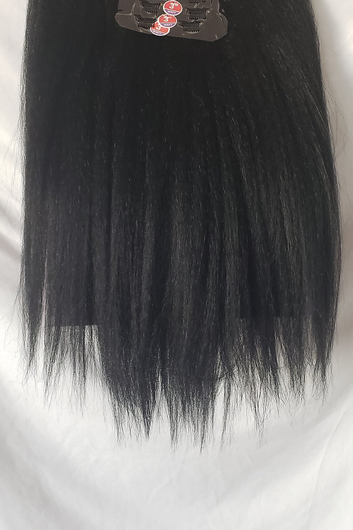 """Beautiful Natural Kinky Straight 18""""  Clip-In Wefts 9pcs"""