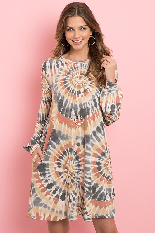 Long Sleeve Tie Dye Midi Dress Available in 2 -color variants