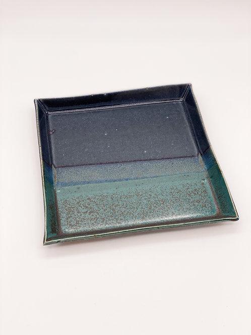 四方皿 20.5cm x 20.5cm グリーン / ブルージーンズ