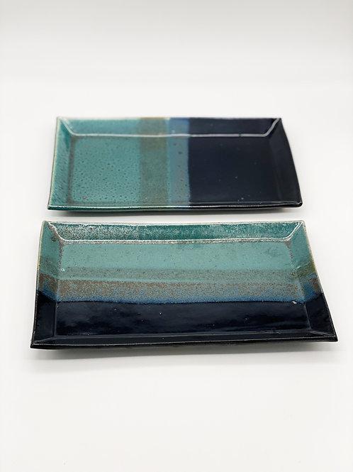 長方皿 14.5cm x 25.5cm グリーン / ダークブルー