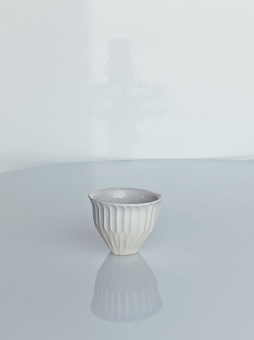 Fluted Sake Cup White