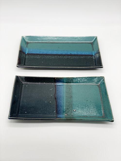 長方皿 14.5cm x 25.5cm グリーン / ブルージーンズ