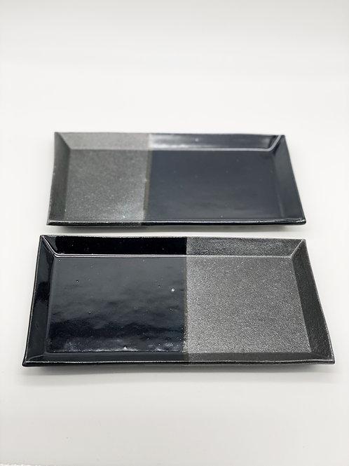 長方皿 14.5cm x 25.5cm ブラック / ダークブルー