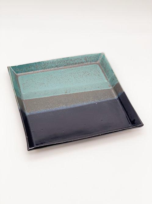 Square Plate 20.5cm x 20.5cm Green/Dark Blue