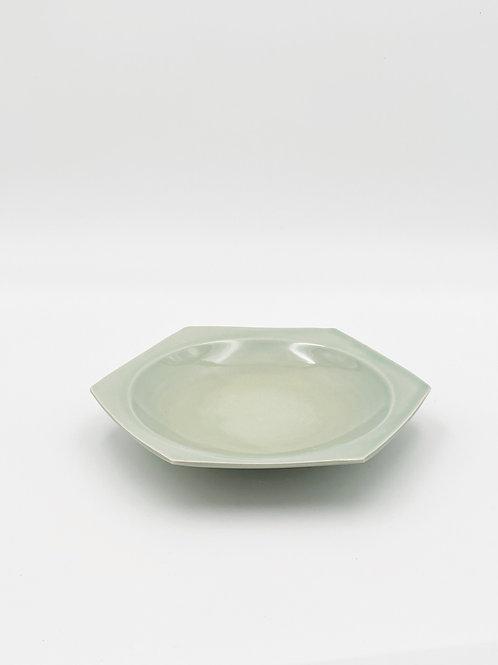 ハニカム皿 L 緑青磁