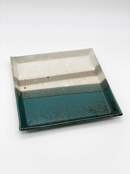 Square Plate 20.5cm x 20.5cm Green/Kohiki