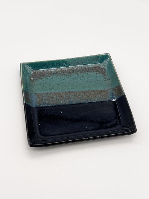 Square Plate 15cm x 15cm Green/Dark Blue