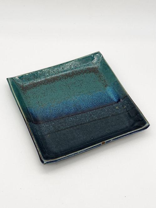Square Plate 15cm x 15cm Green/Blue Jeans