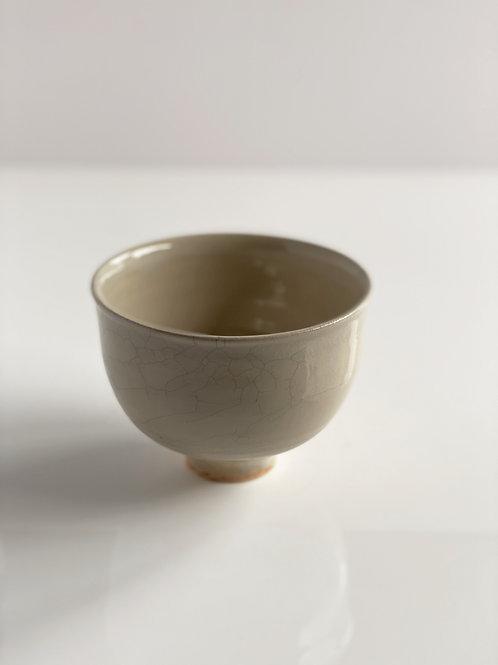 Footed Bowl Beige Crackle