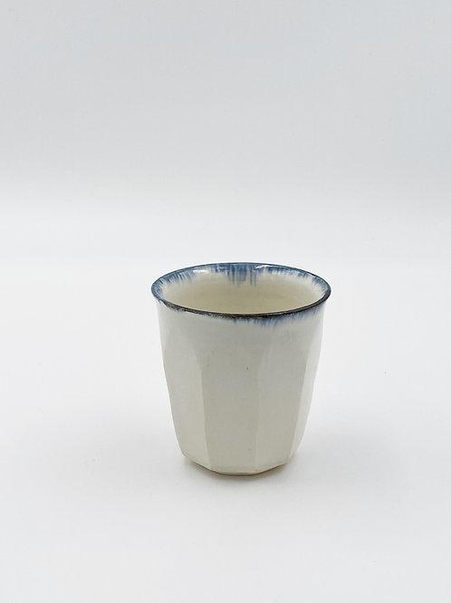 Faceted Cup Blue Rim