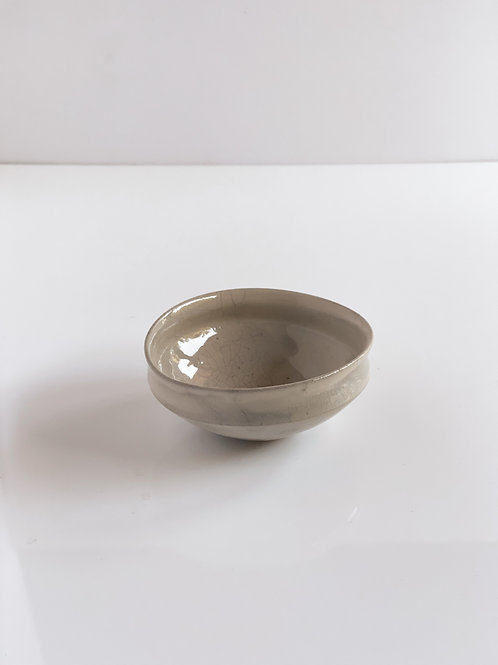 Oval Bowl S Gray Crackle