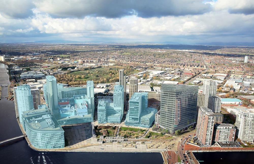 MediaCityUK's Phase 2 CGI rendition over Salford Quays