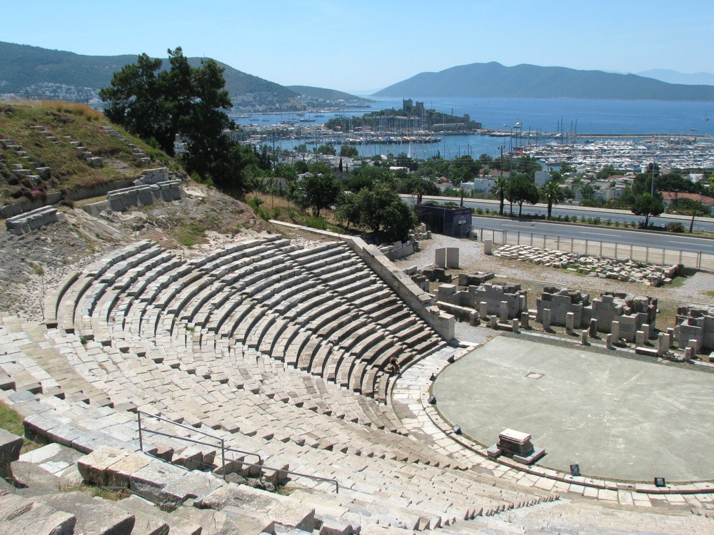 Theatre of Halicarnassus with Castle of Bodrum in the background