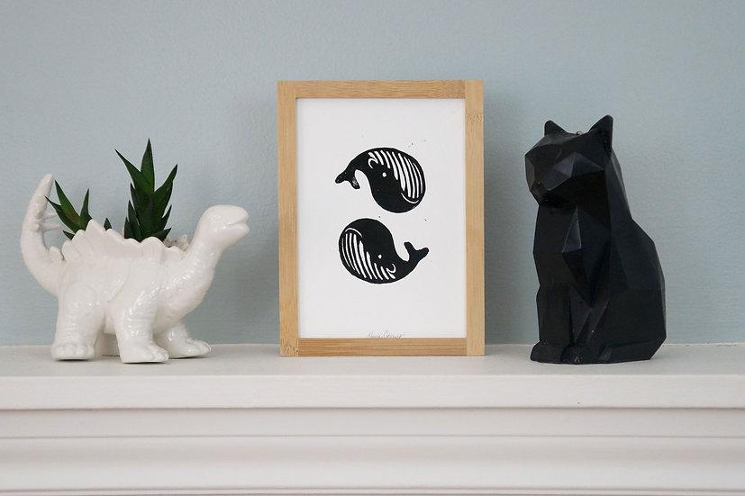 DinoCat - Black Whales Framed