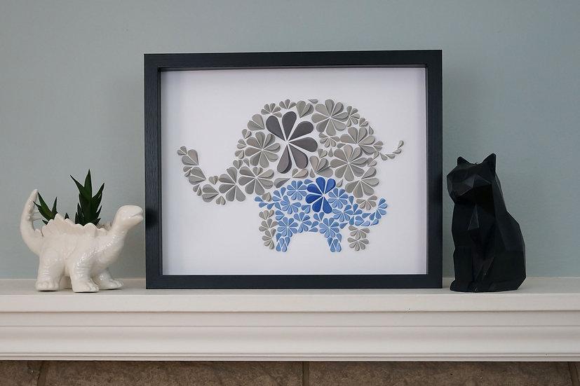 DinoCat - Blue Elephant Family Black Frame