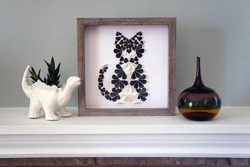 DinoCat - Black Tuxedo Cat Driftwood Frame