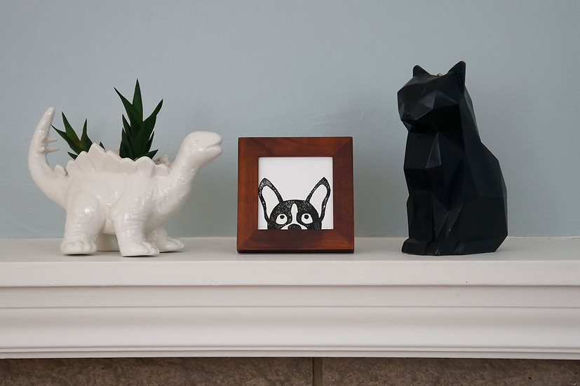 DinoCat - Mini Peeking Pup Wood Frame