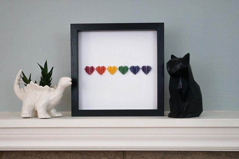 DinoCat - Pride Hearts Black Frame