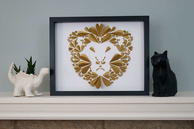 DinoCat - Gold Lion Black Frame