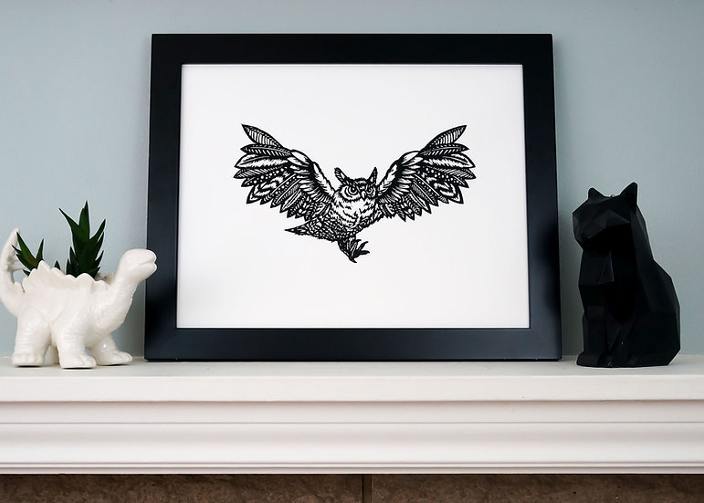DinoCat Owl Woodcut Print - Framed