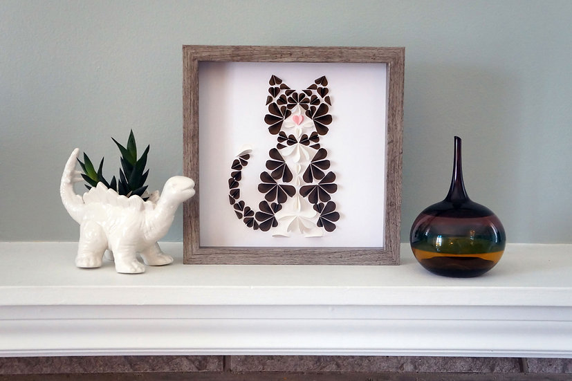 DinoCat - Brown Tuxedo Cat Driftwood Frame