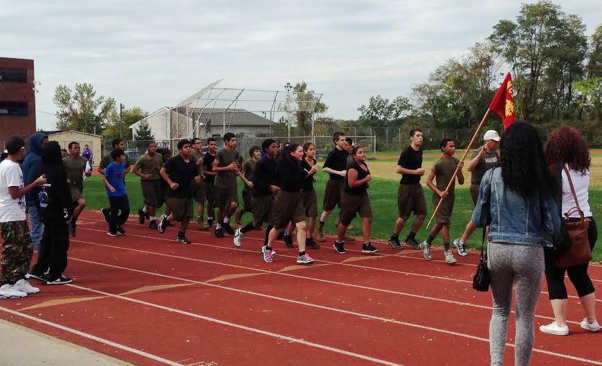 Lincoln ROTC runs the walk.jpg
