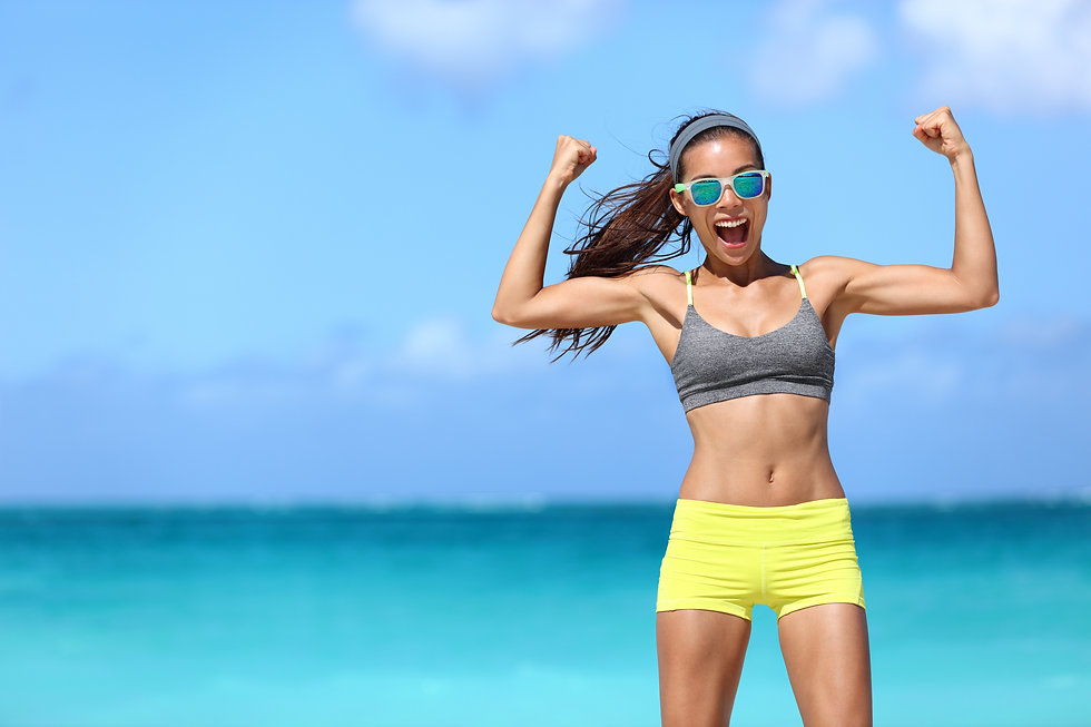 Strong fitness funny woman in neon blue