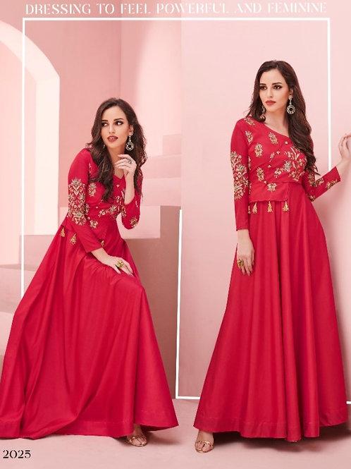 Floret Collection Soft Silk Kurti Gorgeous Red