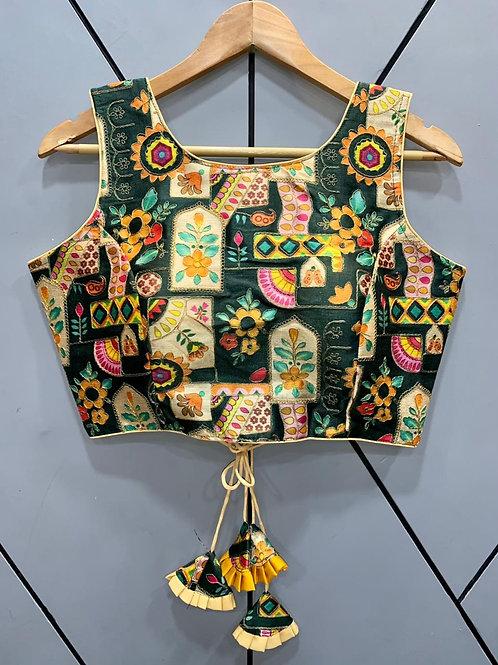 Floral Digital Designer Thread Work Blouse 08