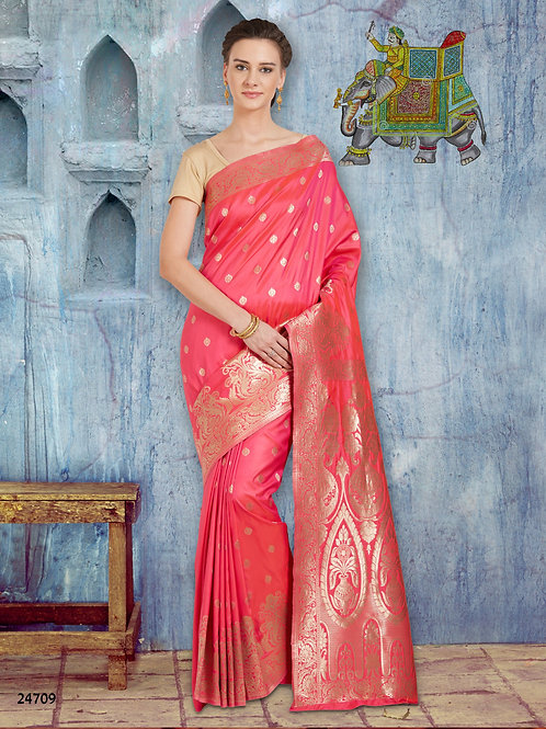 Hot Pink Banarsi Silk Saree