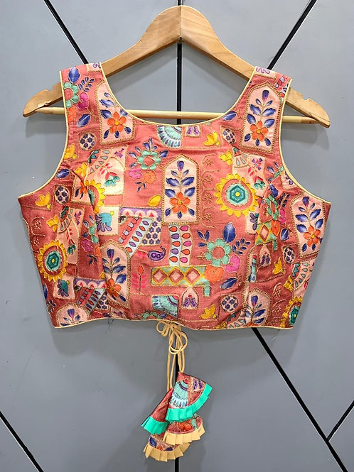 Floral Digital Designer Thread Work Blouse 01