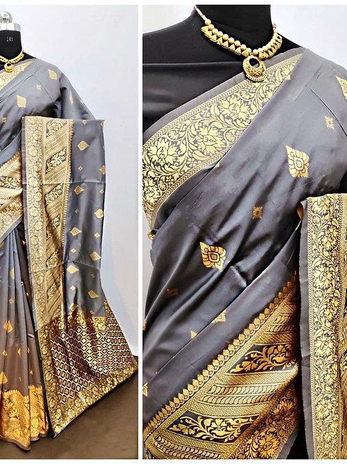 BHARATHI - Banarasi Soft Silk Saree Grey