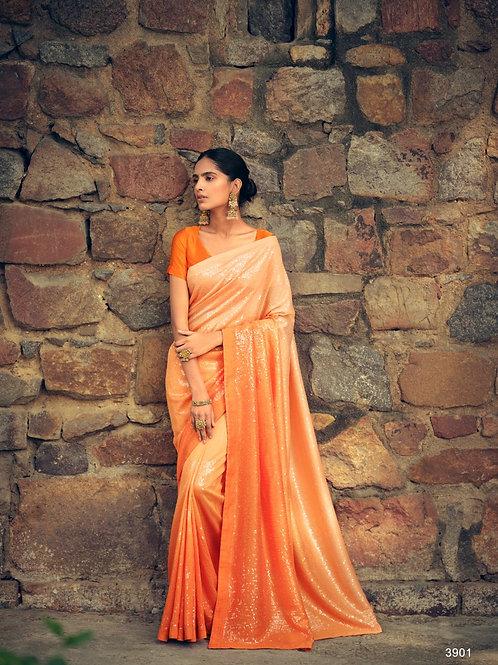 Sequence work Partywear Orange Saree