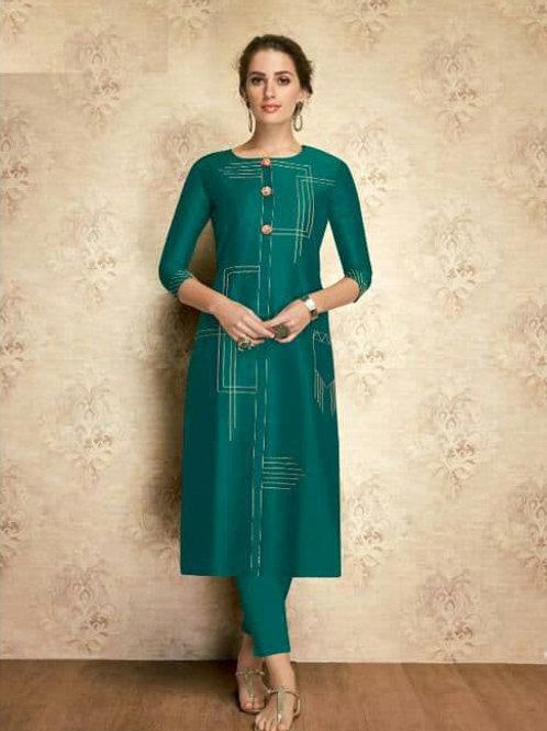 SOUL Collection - Green Silk Kurti (Only Kurti)