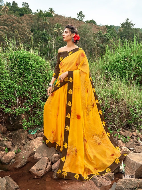 KASHVI - Deep Yellow Chiffon Saree