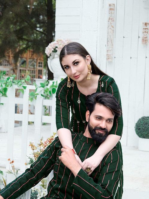 RAM-LEELA  - Couple Combo Kurta-Kurti with pants – Summer Special (Green)