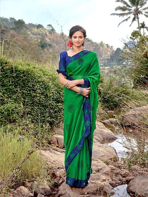KASHVI - Classic Green Chiffon Saree