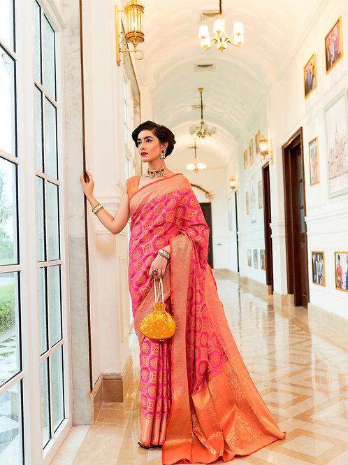 Kimisha Excellency Royal Megenta Banarasi Silk Saree