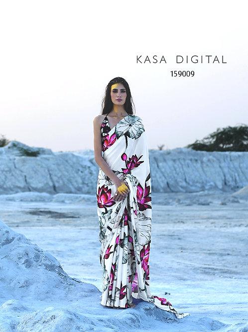 KASA Digital Sun Shine Collection White Lotus Saree 159009