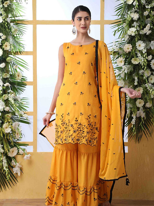 Flory Glamorous Mustard Yellow Sharara Suit with Dupatta