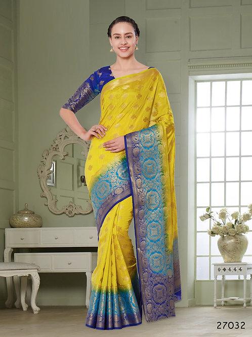 Golden Peacock Soft Raw Silk Saree with Rich Pallu & Heavy Border