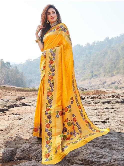 AARSHI - Pure Paithani Silk Yellow Saree
