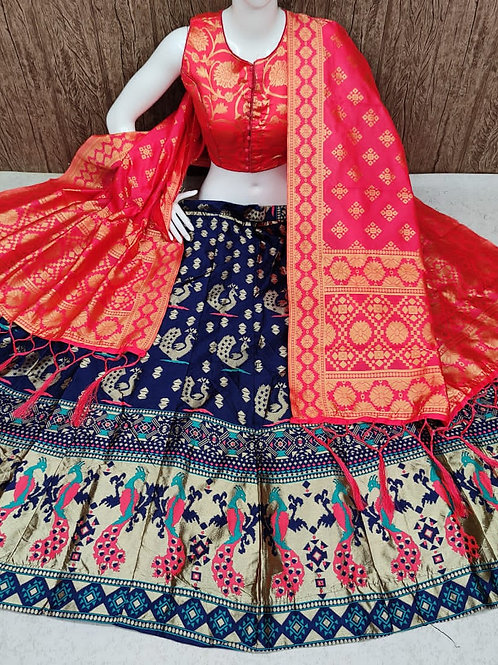 Striking Banarasi Blue Lehenga