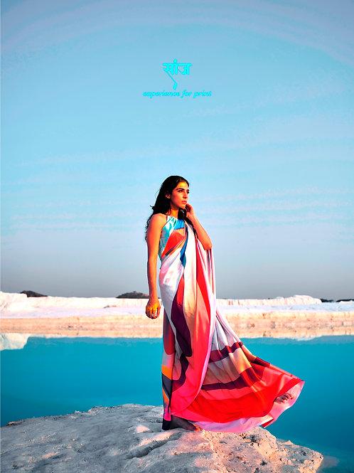 KASA Digital Sun Shine Collection Colour Skade Saree 159003