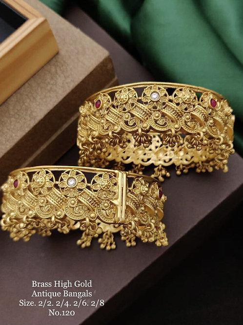 Brass High Gold Antique Bengles No 120