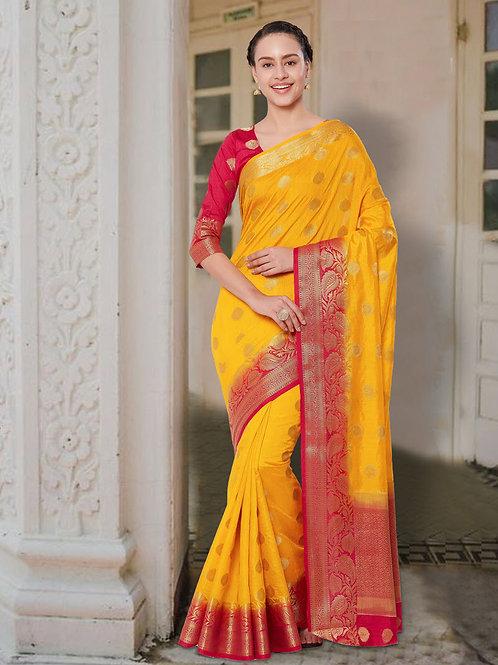 Classic Yellow Pink Soft Silk Saree with Rich Pallu & Heavy Border