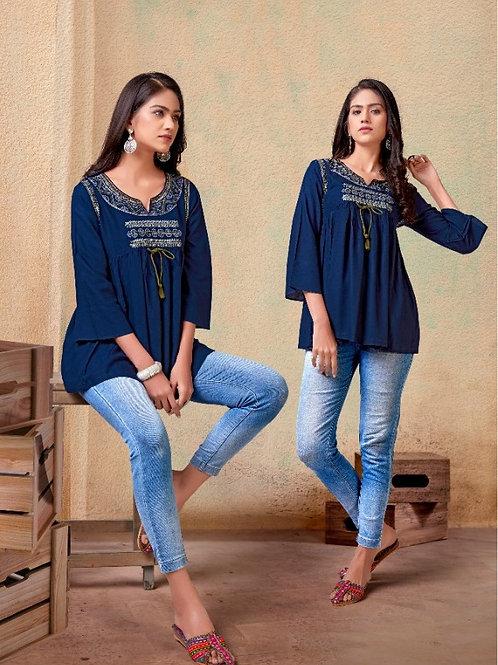 Fabulous Heavy Rayon Trendy Blue Short Kurti