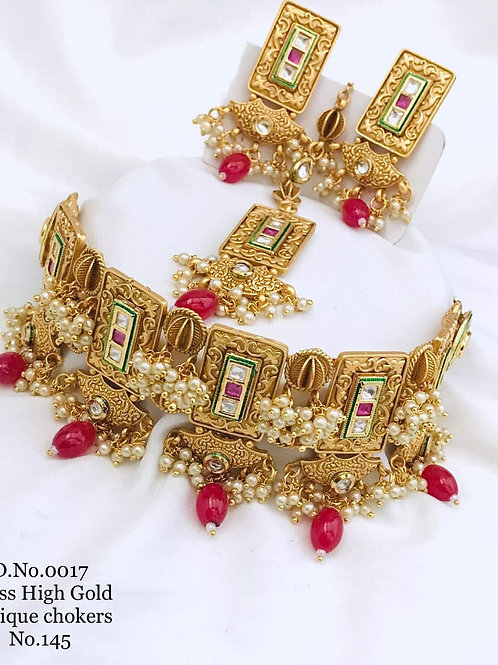 1 Gram Beautiful Choker Necklace Set Dno17