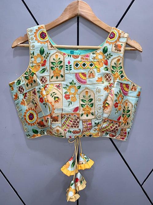 Floral Digital Designer Thread Work Blouse 04